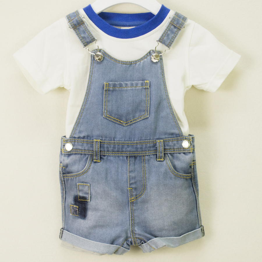 9fdd88d11c55 Newborn Baby Denim Jumpsuits Infant Boys Girls Bodysuit Jeans Shorts  Toddler Kids Covered Button Patchwork Children