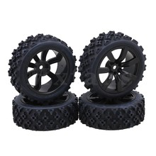 Mxfans 7 Spoke Wheels Rims Beard Pattern Rubber Tyre Model Vehicle Parts for RC 1:10 On-Road Racing Car Pack of 4