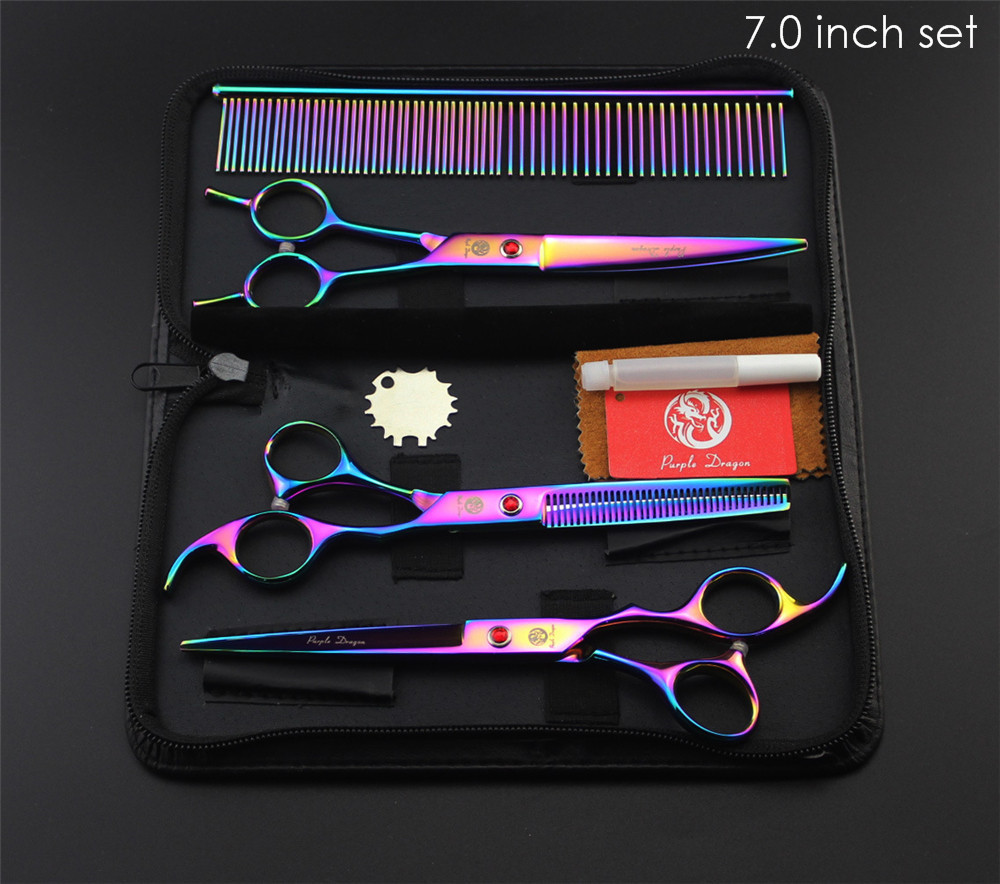 "Purple Dragon Professional Pet Grooming Scissors Set 7"" 8"" Straight+Thinning+Curved Scissors Cat Dog Shears Hair Cutting Tools 3"