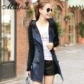 Джинсовая куртка плащ женщинам осень мода корейский свободного покроя сращены трикотажные рукава двубортный длинные джинсы пальто A950