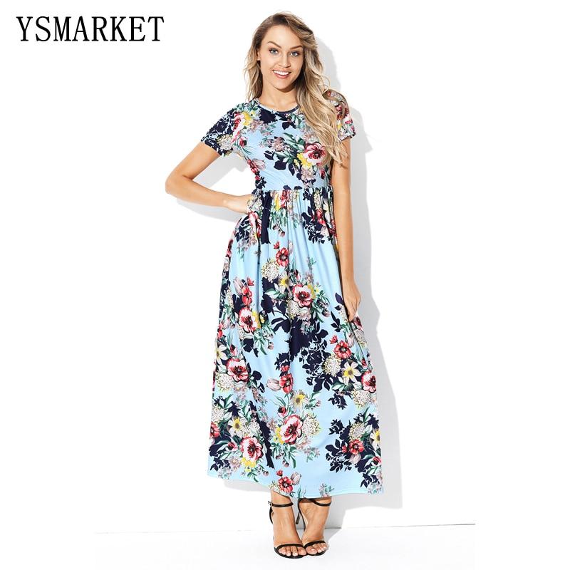 Summer Floral Print Maxi Dress 2018 Women Sexy Collor Neck Floor-Length Long Bohemian Dresses Vestidos 2XL E61560