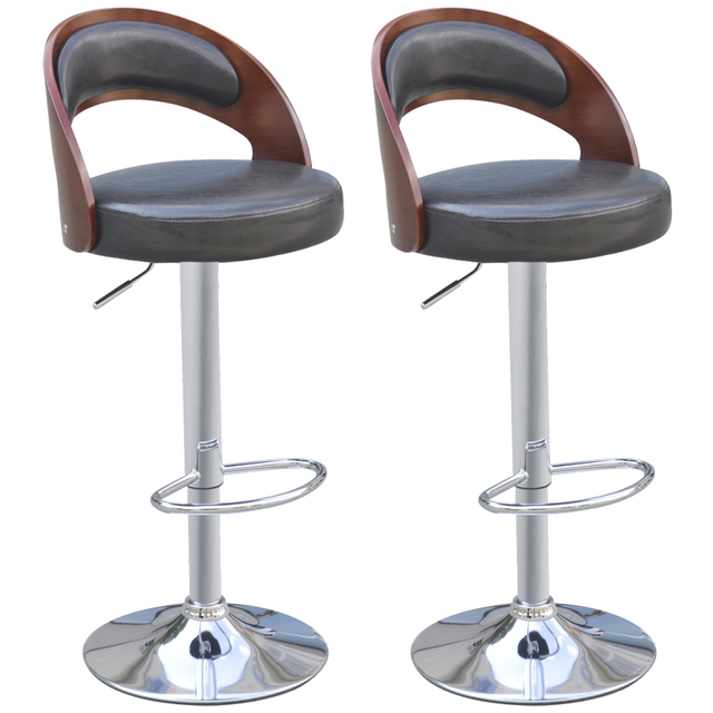 fdcb9f0d19db8 2 Pcs Bar Stools Chairs artificial leather black back padded curved wood  Counter Barstools Kitchen Dinning
