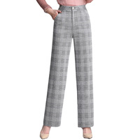 Women pants Slim spring Autumn pants Plaid Straight pants High waist casual pants Woman 034