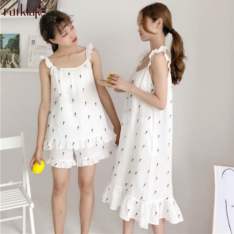 Fdfklak Casual new women's   pajamas     set   print cotton pijamas women sleeveless sling shorts sleepwear   sets   summer pyjama femme