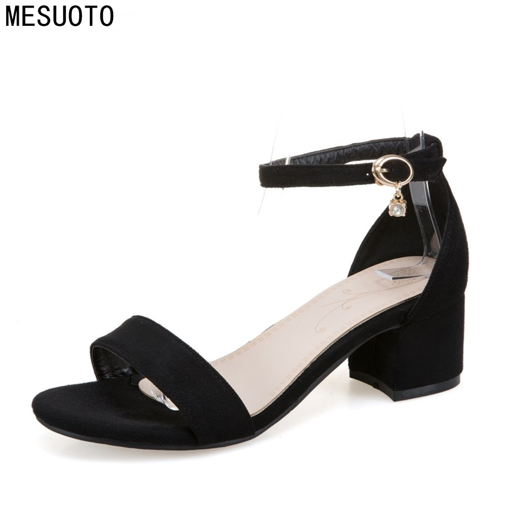 MESUOTO Plus Size Suede Buckle Strap Square Mid Heels Summer Style Womens Sandals ...