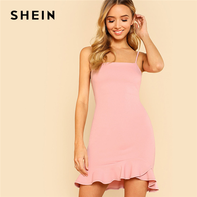 SHEIN Sexy Pink Pastel Party Preppy Ruffle Asymmetrical Backless Flounce Hem Open Back Summer Dress Women Cami Mini Dress
