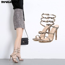 TINGHON Summer Sandals Womens Shoes Slip On Snake Sexy Stilettos High Heels Party Sandalie Ladies Pumps Size 35-40