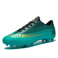 Men Football Shoes Long Cleats Teenager Children Boy HG/TF Soccer Boots for Training Games Gold Blue Male Football Sneakers