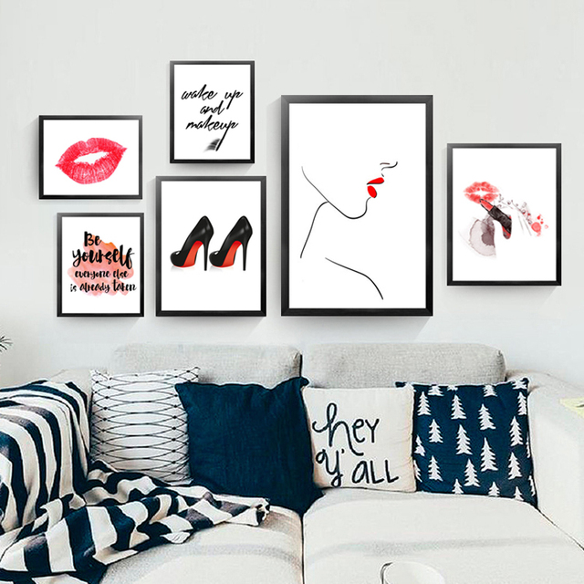 Red Lips Canvas Painting Fashion Makeup Picture Wall Art Print Poster  Painting Be Yourself As If