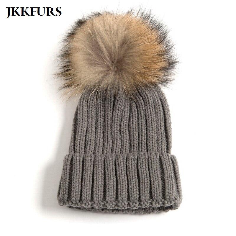 2019 Neue Echt Waschbären Pelz Große Pompom Hut Natürliche Pelz Kappe Winter Warme Mode Elastische Großhandel/einzelhandel S1643