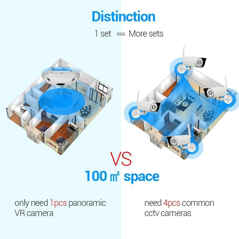 5.0MP 360 градусов камера видеонаблюдения рыбий глаз Беспроводной IP Камера купольная камера с WiFi VR Камера удаленного просмотра бесплатное прил... - 6