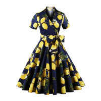 XAXBXC 2017 Summer Retro Vestido Lemon Flower Polka Dot Sashes 1950s Vintage Swing Women Maxi Wrap