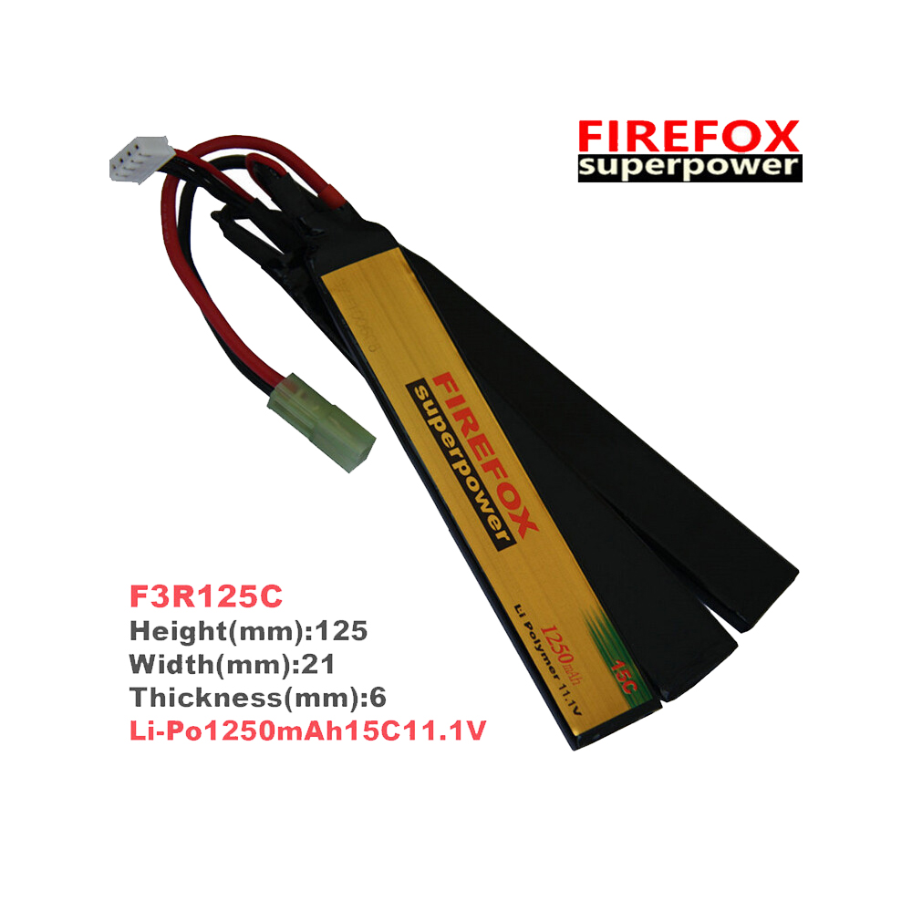 1pcs 100% Orginal FireFox 11.1V 1250mAh 15C Li-Po Polymer 3 cell Battery AEG Airsoft Battery F3R125C 1pcs 100% orginal firefox 11 1v 1500mah 15c li po aeg airsoft battery f3l15c drop shipping