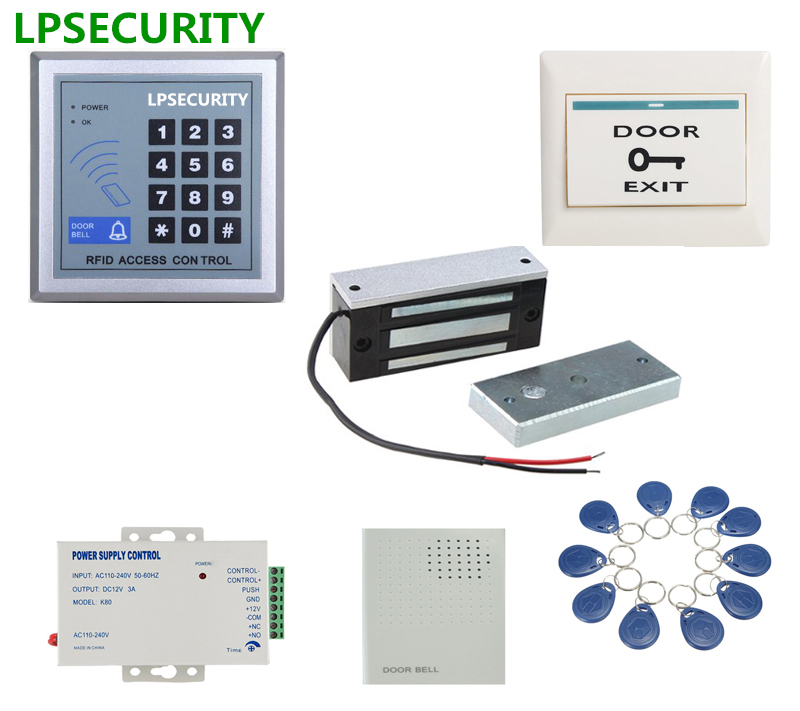 LPSECURITY 60kg 12v Wooden Gate Door Electric Magnetic Lock Keypad RFID Door Access Control System Kit With 10 Tags