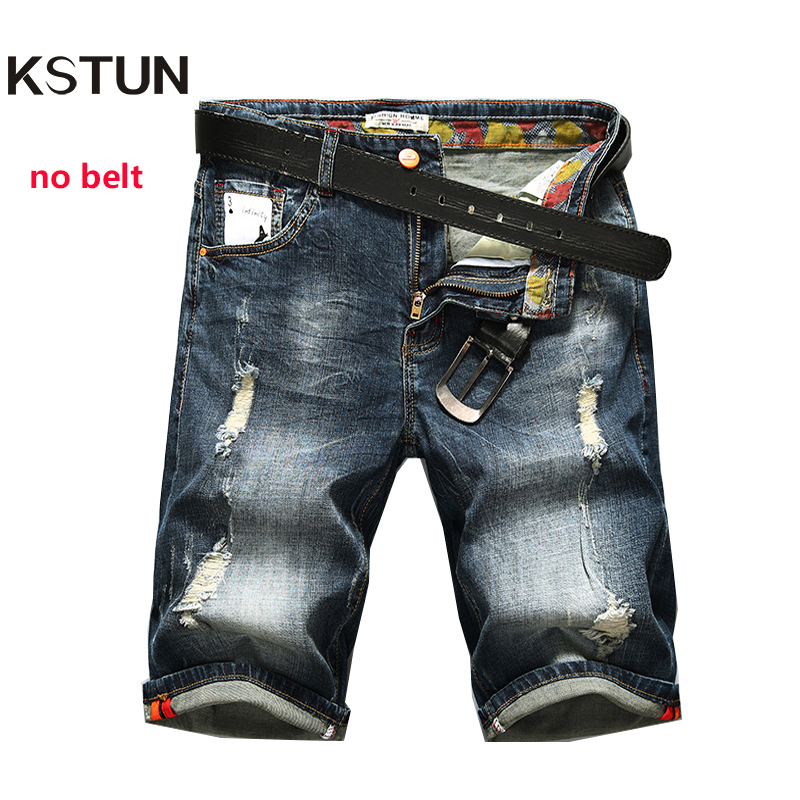 KSTUN Men's Shorts Jeans Dark Blue Stretch Retro Fashion Pockets Designer Poker Printed Ripped Biker Motor Jeans Denim Pants