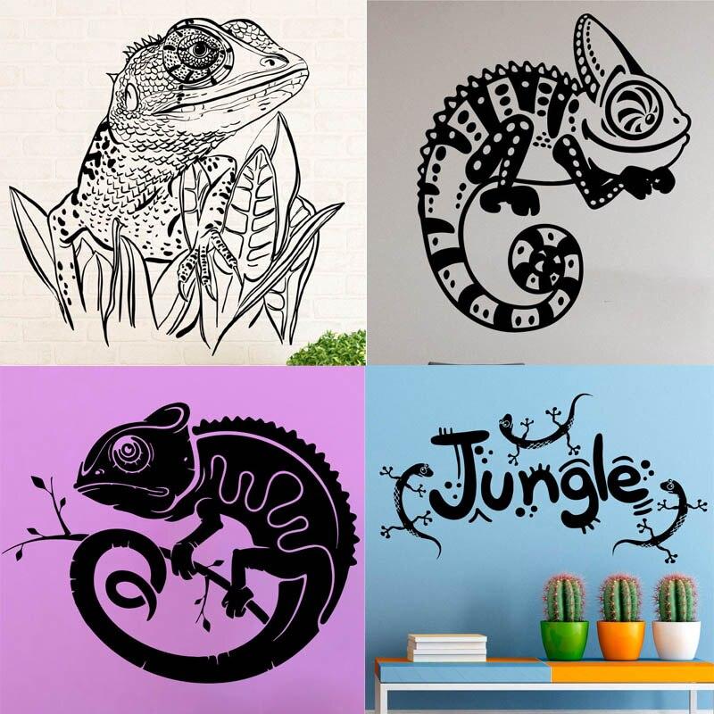10 23 30 De Reduction 20 Dessins Autocollants Muraux Cameleon Dessin Anime Lezard Vinyle Stickers Reptile Decor Animal Maison Design D Interieur Art