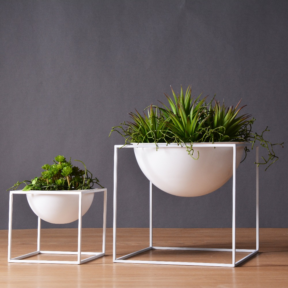 white black modern tabletop vase metal square flower plant. Black Bedroom Furniture Sets. Home Design Ideas