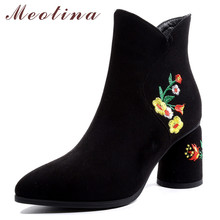 купить Meotina Women Boots Winter Ankle Boots Embroider Zip Round Heels Short Boots Flower Super High Heel Shoes Female Fall Size 33-43 по цене 2173.43 рублей