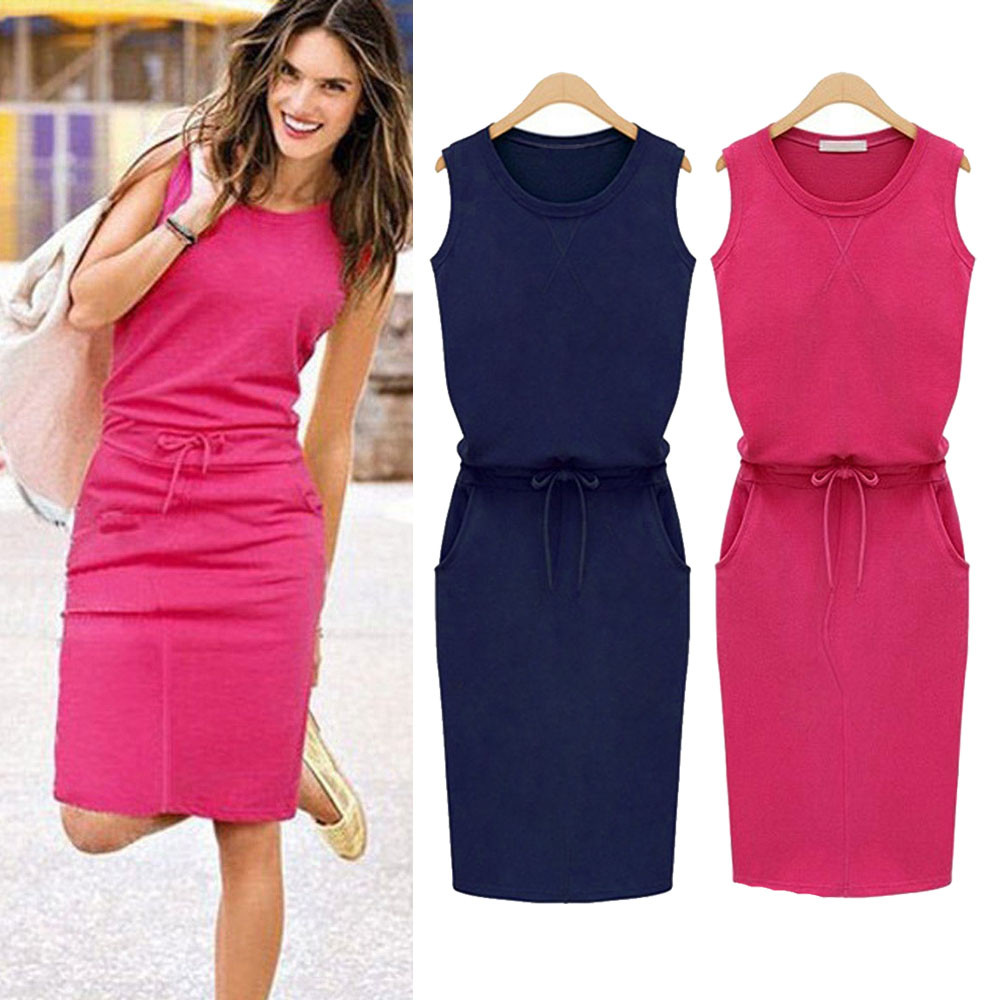 Plus Size Women's Dress 2019 New Summer Sleeveless Summer Beach Casual Solid Color Elegant Party Dress Vestido Navidad Mujer 5.2