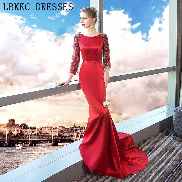 Long Sleeve Mermaid   Prom     Dresses   Burgundy Gala Jurken Satin Beading Vestido De Festa Floor Length   Prom     Dress   Women Evening   Dress