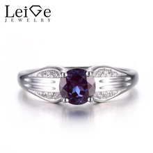 Leige Jewelry Alexandrite Promise Ring June Birthstone Round Cut Gems Solid 925 Sterling Silver Simple Ring Prong Setting Rings