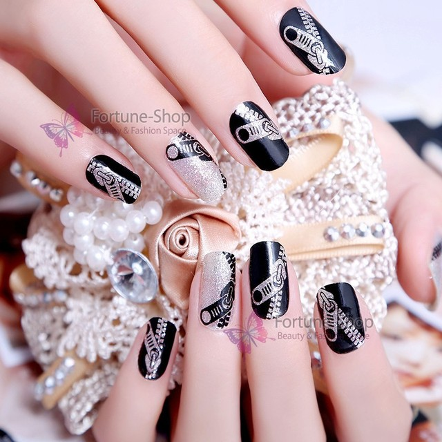 US $0 99 |Beauty Stickers Waterproof Nail Stickers Decals Zipper 2D Water  Transfer Printing Nail Sticker With Free Nail File Buffer KOS010-in  Stickers