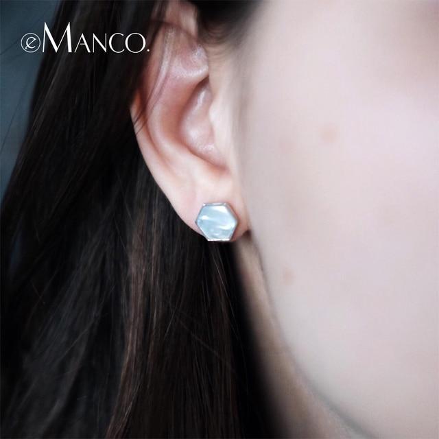e-Manco 925 Sterling Silver Shell Earrings Simple Classic For Women Hexagonal Si