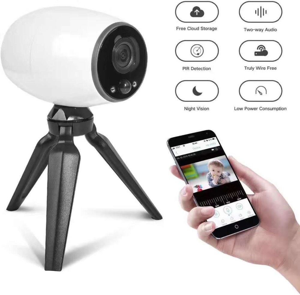 Battery Power No Need Wired Wireless WIFI Baby Monitor 160 Degree Wide Angle IP Camera