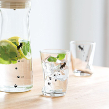 Creative Lead-free glass cup Cute  Small Water wine stemless Printed milk Household glassware Drinkware