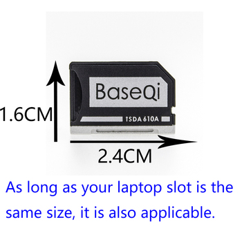 BaseQi Aluminum MiniDrive Micro SD Card Adapter For Asus ZenBook Flip ux360CA(Model 610A)