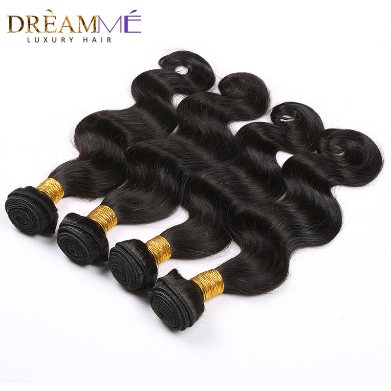Dream me 13x4 Lace Frontal Closure With 3 Bundles Brazilian Body Wave Remy Human Hair Extensions Natural Color Weave-in 3/4 Bundles with Closure from Hair Extensions & Wigs    2