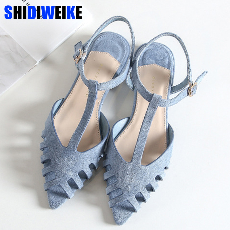 Aufstrebend Aushöhlen Frauen Gladiator Sandalen Vintage Schnalle Niedrigen Ferse Platz Ferse Sommer Schuhe Für Frau Offene Spitze Zapatos Mujer N678 Schuhe