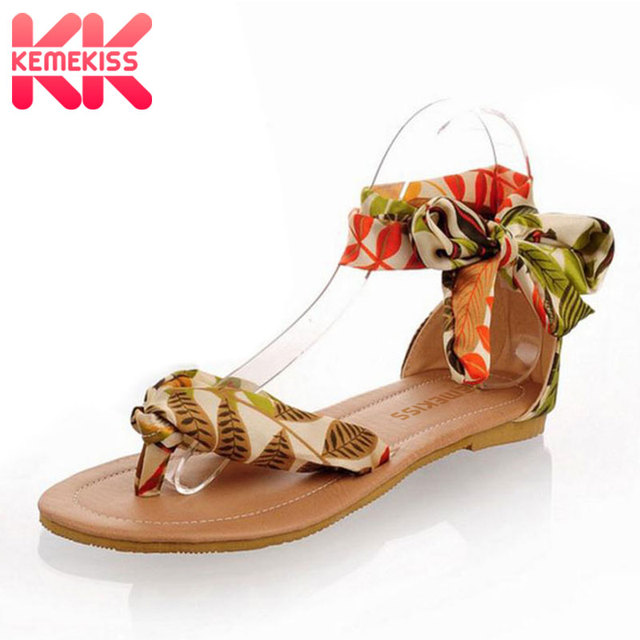 0f295a57787 KemeKiss Women Summer T strap colorful Sandals Beach Flat Heel Sandals  Woman Shoes Ribbon Sweet Ladies Leisure shoes size 34-43