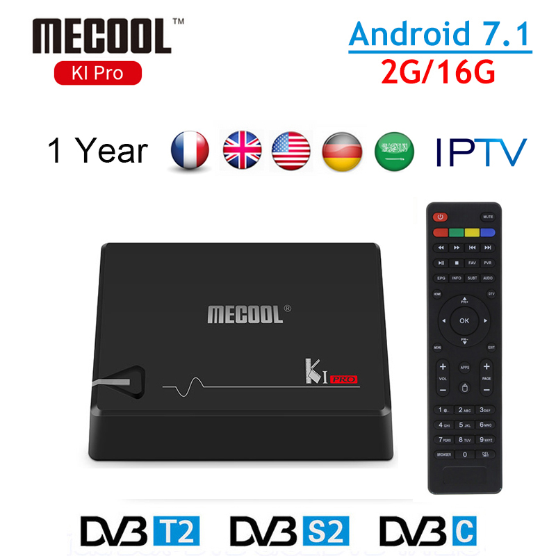 KI Pro DVB-T2 + DVB-S2 Android TV Box 2G/16G ROM Mecool TV BOX Android 7.1 WIFI with Europe French Italy IPTV Smart Media Player android box iptv stalker middleware ipremuim i9pro stc digital connector support dvb s2 dvb t2 cable isdb t iptv android tv box