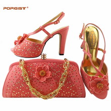 Italian Shoes With Matching Bags Rhinestone High Quality Coral Color Large Size 38 43 Wedding