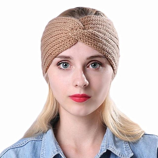 Women s Winter Warm Knitted Twist Headband Wool Crochet Knot Turban  Headwrap Bandage Turbante Hairband Female Hair Accessories 7959c1c7a1a