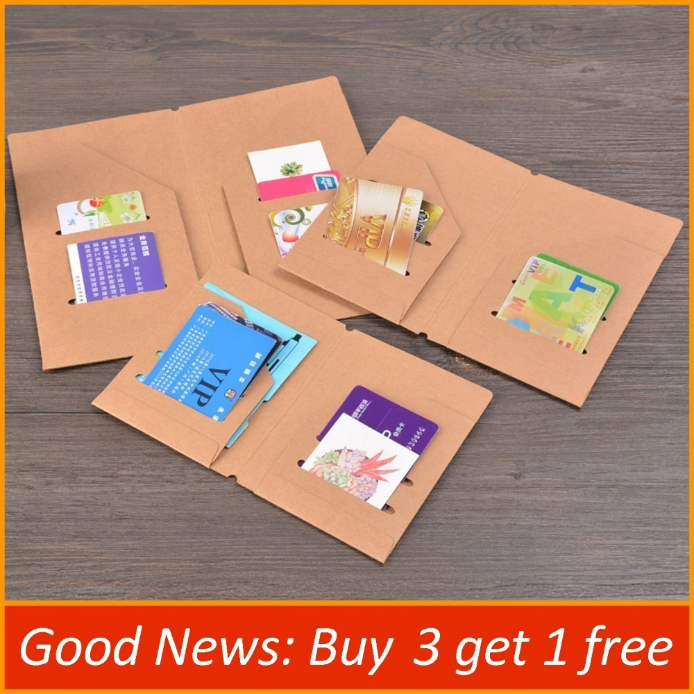 Kraft Paper File Holder Travel Journal Notebook Planner Accessories Regular Passport Size Card Holder Pocket Storage Stationery