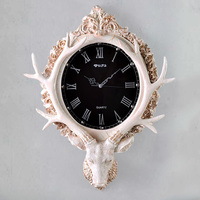 European American Retro Art Deer Hanging Mute Nordic Living Room Wall Clock Creative Decorative Wall Nostalgic Watches Ornaments