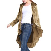 Autumn Women Velvet Coat Long Chiffon Trim Wrap Cardigan Irregular Cardigan Lace Trench Outwear