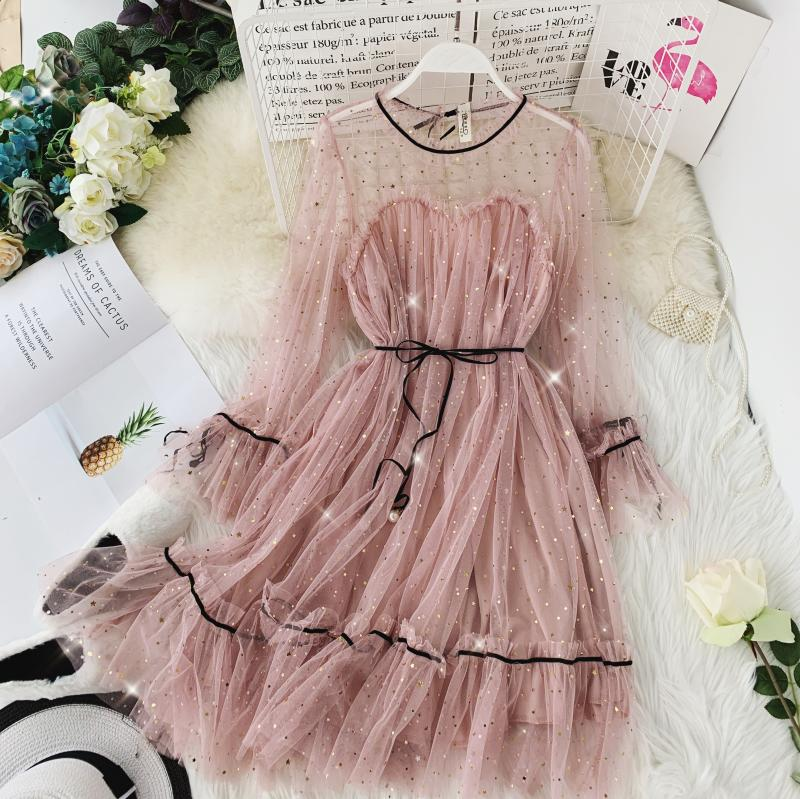 HISUMA spring autumn new women Star sequins gauze flare sleeve lace-up Princess dress female elegant o-neck mesh puff dresses 32