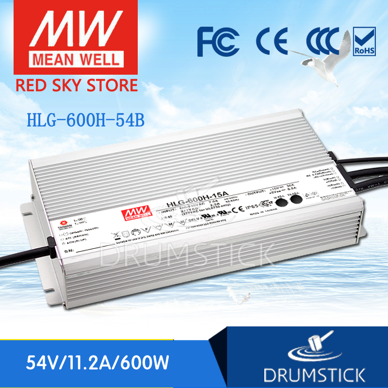 100% Original MEAN WELL HLG-600H-54B 54V 11.2A meanwell HLG-600H 54V 604.8W Single Output LED Driver Power Supply B type genuine mean well hlg 320h 54b 54v 5 95a meanwell hlg 320h 54v 321 3w single output led driver power supply b type