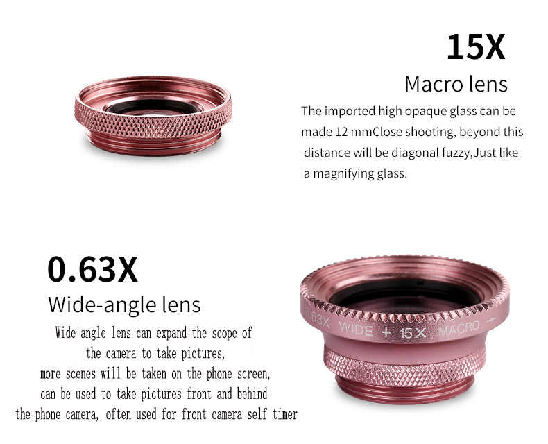 Cell Phone Camera Lens 4 in 1 Universal Professional Kit Fisheye Macro + Wide-angle + CPL Polarized Lens For iPhone Samsung 4