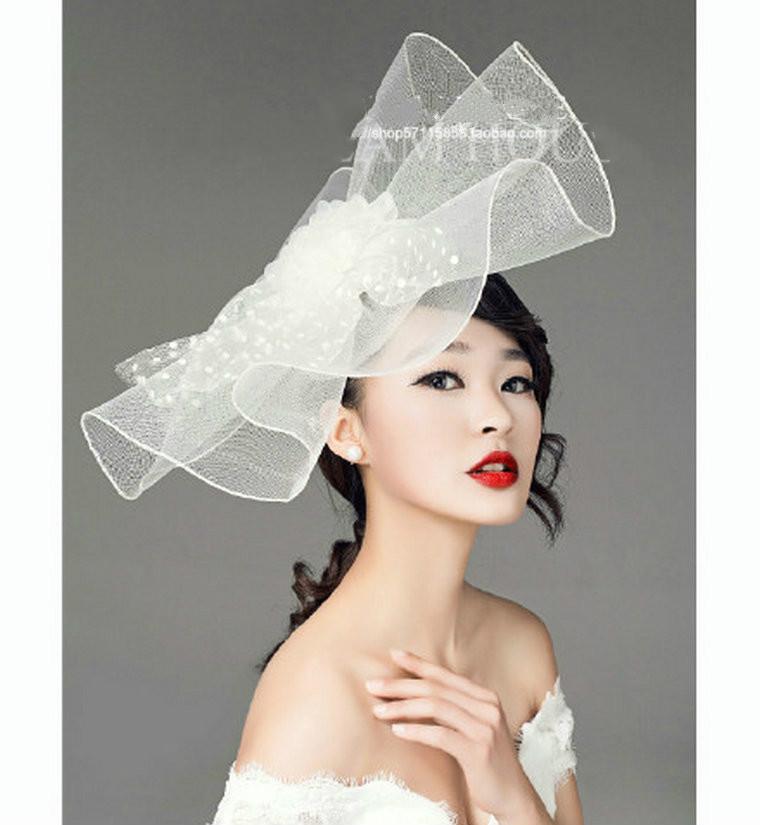 European Style Women Dress Hair Accessories Handmade Mesh Hair Clip Fasinator Hat White Black Women Flower Veil Fascinators ...