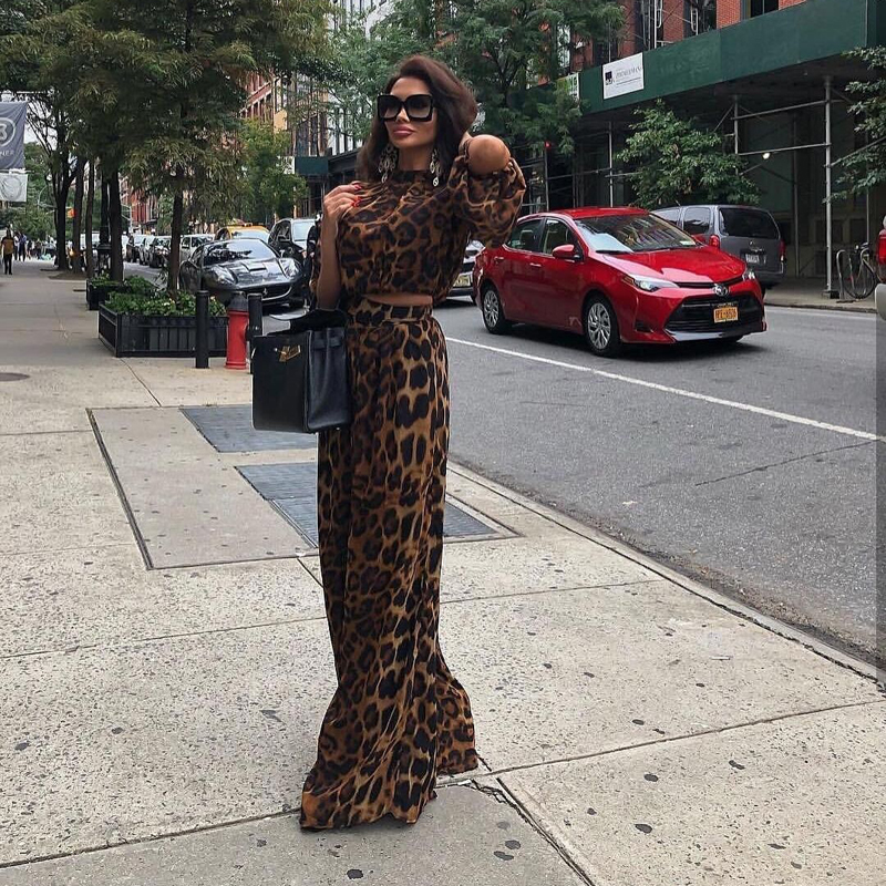 New Fashion Hot Selling Leopard 2 Piece Set Crop Top Casual Jumpsuit Outfit Apparel Women Party Club Date Clothing Wholesale