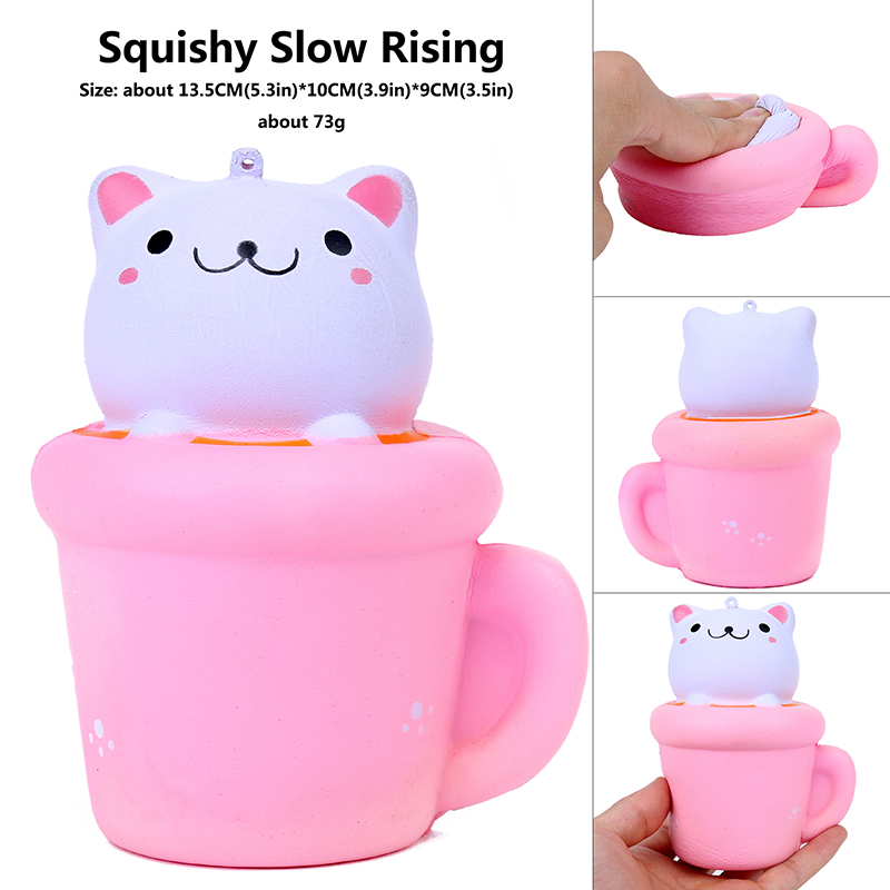 Pop Cheap Cute Cup Cat Dolls Pink With Smiles Stickers Wishy Squishy Cute Christmas Scented Squeeze Anti-stress Toy  China Gift
