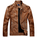 Новый Кожаная Куртка Мужская Стенд Воротник мужской кожаный PU Куртки + Мотоцикл стиль Мужчины Осень Зима Бархат Мужской одежда