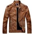 Brand New Homens Gola da Jaqueta de Couro dos homens Jaquetas de couro PU + estilo Da Motocicleta Dos Homens de Outono Inverno de Veludo Masculino roupas