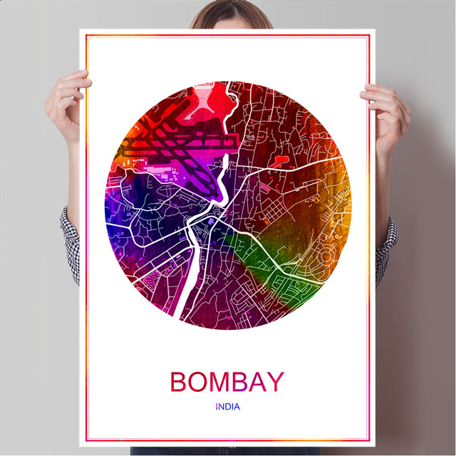Bombay india famous world city map print poster print on paper or canvas wall sticker bar