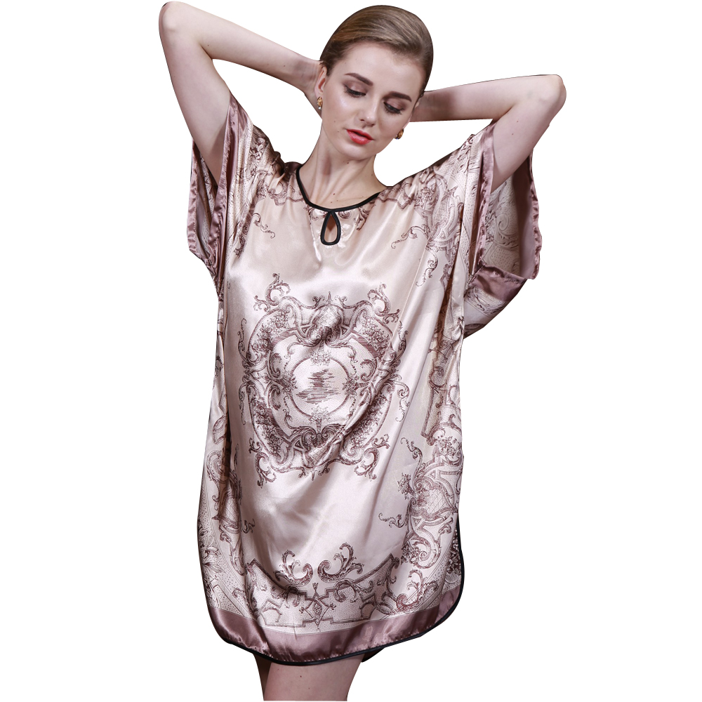 2017 Summer Style Silk Bath Robe Longue Of Ladies Sleepshirt Women Nightgowns Of Home Clothing For Sleep YT047