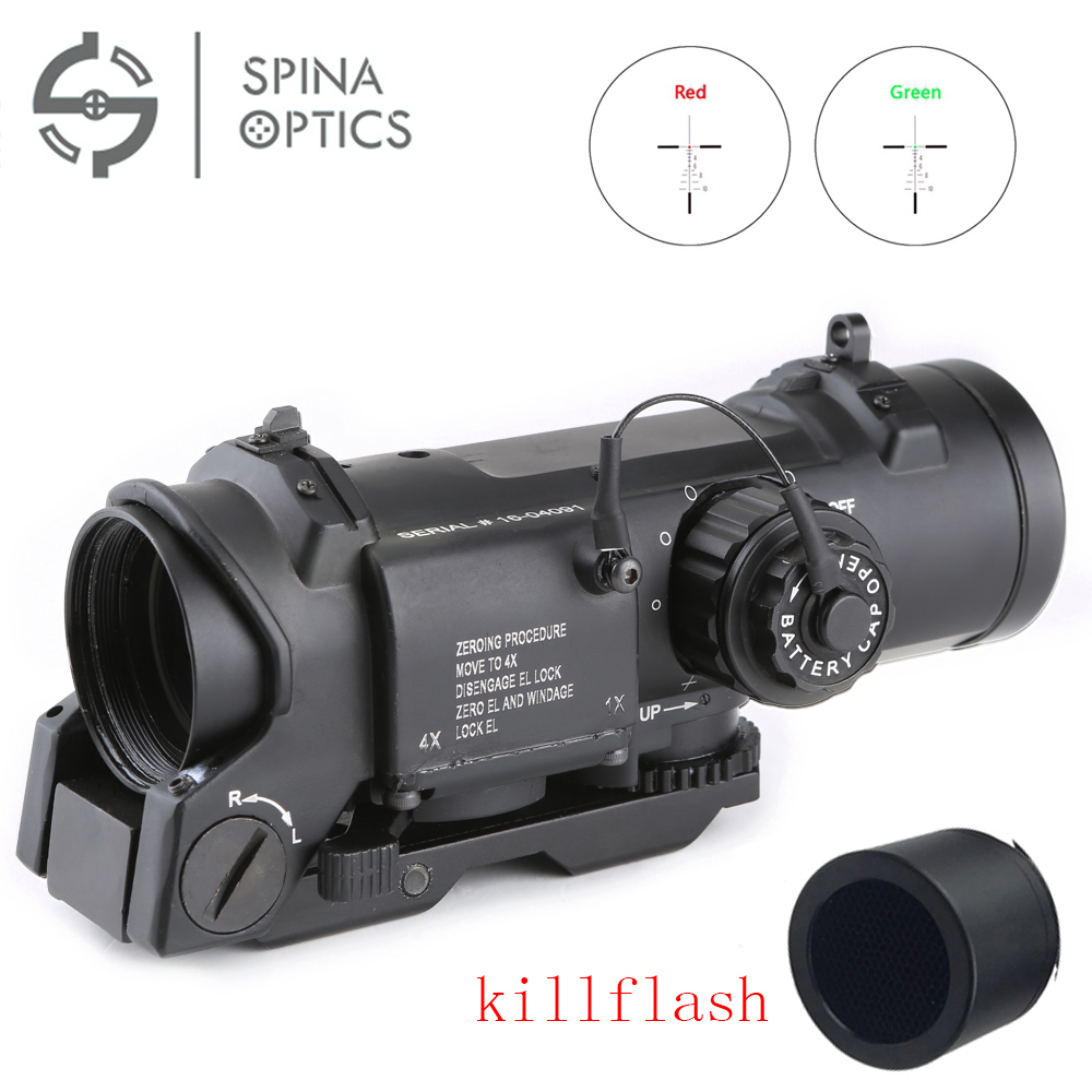 SPINA  Sale Tactical Rifle Scope Quick Detachable 1X-4X Optical Sight Adjustable Dual Role Sight For Hunting